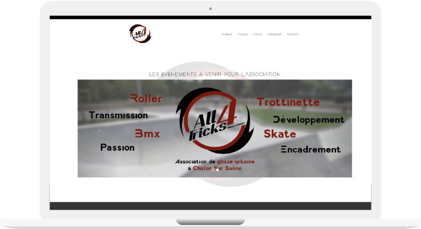 All4tricks association sportive club de skate Web interface A4T